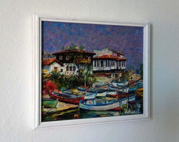 Димитър Диков - картина Старият град с пристанището